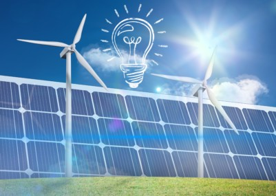 composite of lightbulb graphic with solar panel and wind turbine